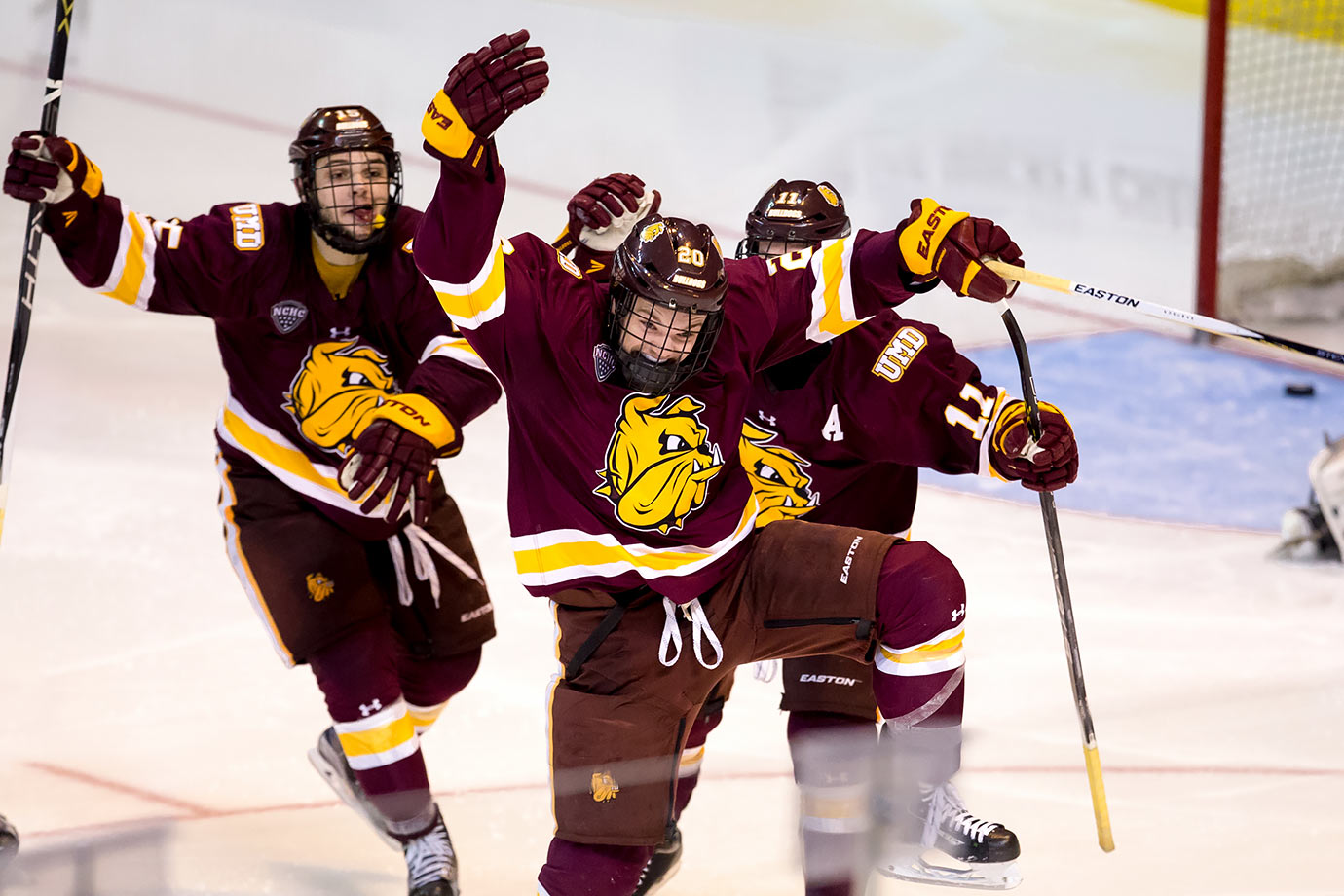 Minnesota Duluth's Karson Kuhlman celebrates his double overtime winning goal against Providence College during Game One of the NCAA Division I Men's Ice Hockey Northeast Regional Championship Semifinals in Worcester, Mass.