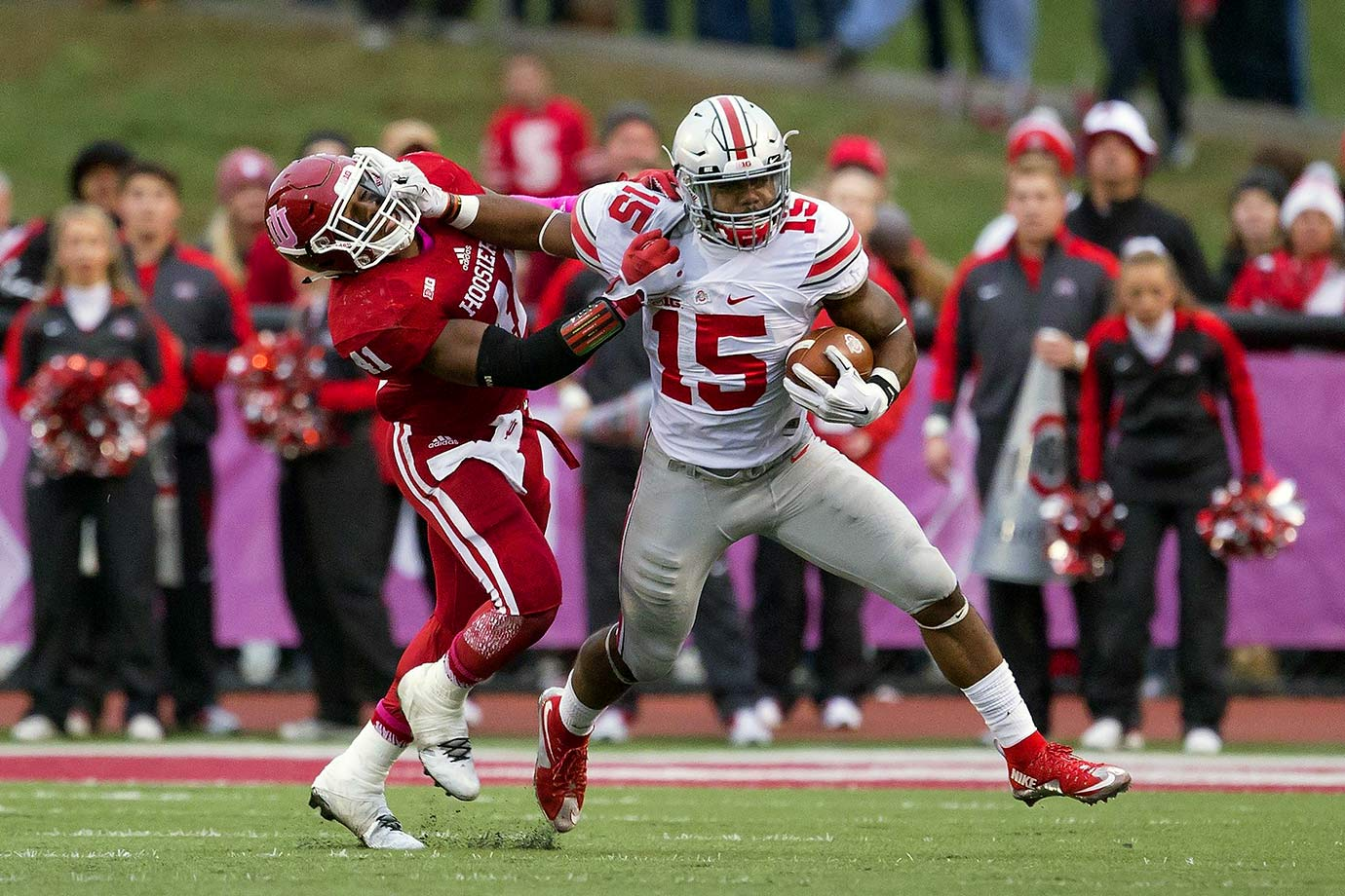 The defending national champion Buckeyes escaped Bloomington with a win thanks to a Heisman-like effort from Ezekiel Elliott, who ran 23 times for 274 yards with three touchdowns. Elliott seemingly put the game away with his third touchdown to give Ohio State a 34–20 lead in the fourth quarter, but Indiana backup quarterback Zander Diamont responded with a 79-yard touchdown run on the first play of the ensuing drive. The Hoosiers got the ball back with the chance to tie it, and Diamont drove to the Ohio State six-yard line. But his pass to the back corner of the end zone was batted away by Ohio State's Eli Apple as time expired.