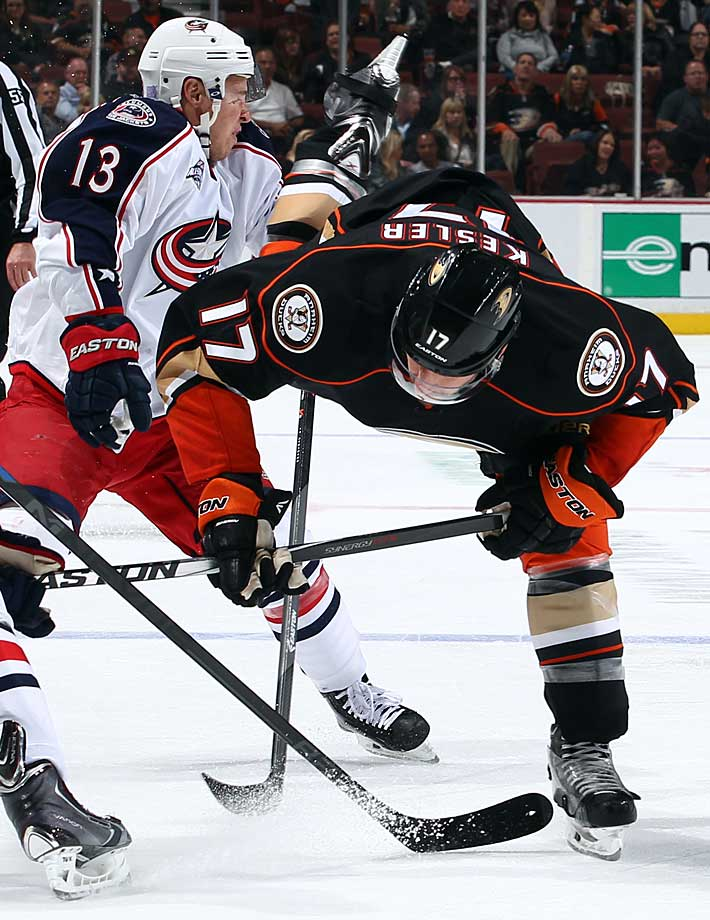 A close shave: The Blue Jackets' forward was gashed in the face by Kesler's skate blade when the Ducks' center lost his balance during their game at Anaheim's Honda Center on Oct. 24, 2014. Atkinson needed stitches to close a three-inch cut across his right eyelid and down his cheek, but he was not seriously injured.