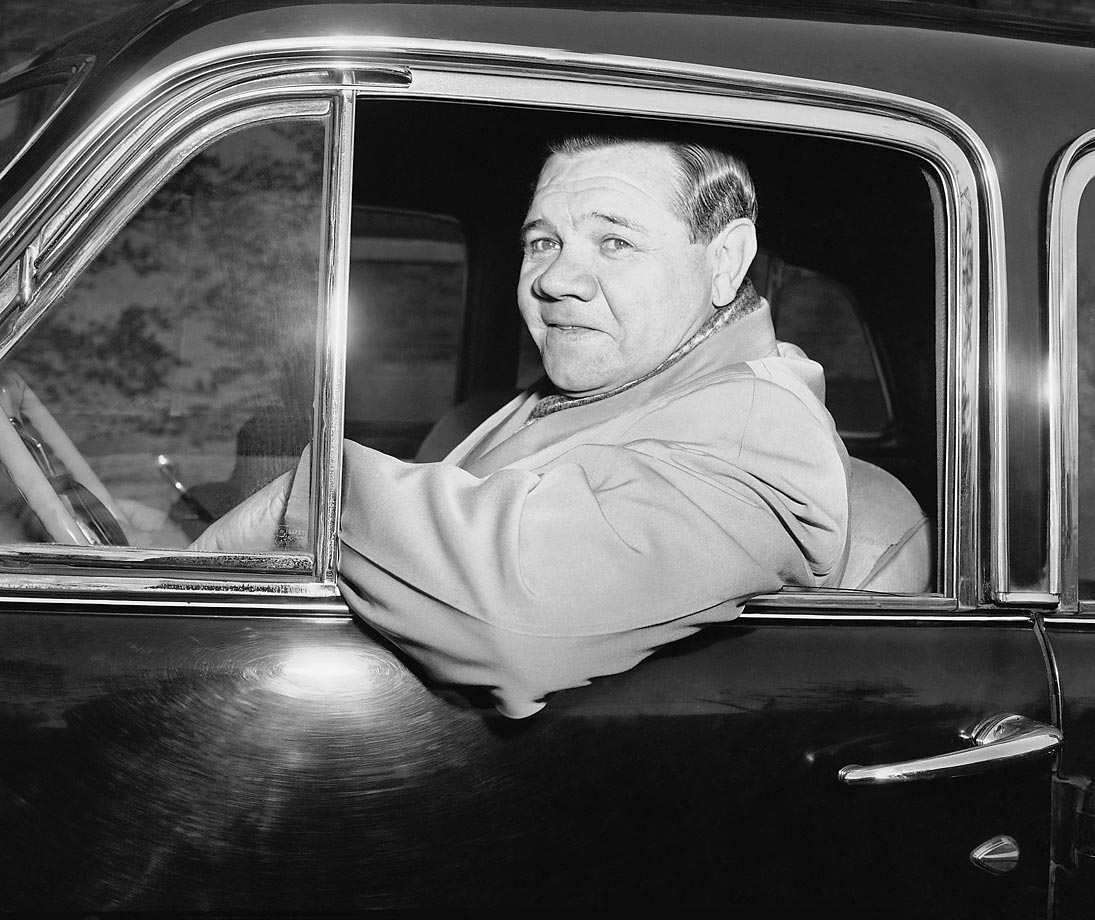 Babe Ruth driving along Riverside Drive in New York in 1946. Ruth had retired from baseball 11 years earlier, after an impressive 22-year career.