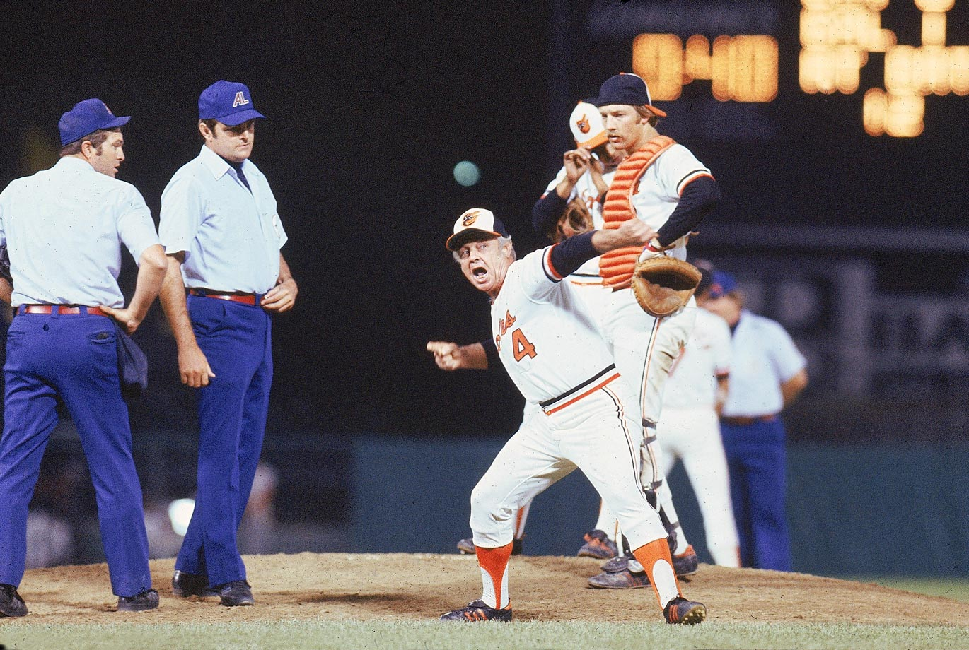 As ornery as he was beloved, Orioles manager Earl Weaver's fiery temperament got him thrown out of 91 games during his coaching tenure. His ejections were so frequent that he'd occasionally jump the gun and toss himself. This photo captures one of those instances.