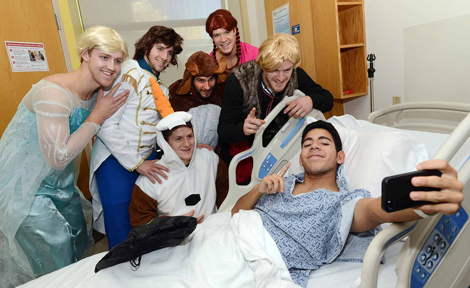 Looking as lovely as ever, (L-to-R) Kevan Miller, Dougie Hamilton, Matt Fraser, Seth Griffith, Matt Bartkowski, and Torey Krug brought the Halloween Spirit to a patient named William at Boston Children's Hospital on Oct. 27, 2014.