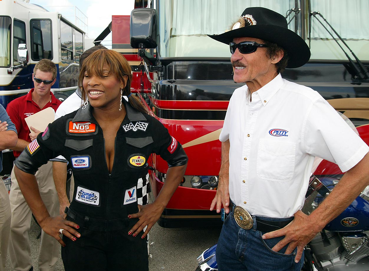 Seven-time NASCAR champion Richard Petty showed Serena around the garage area when she attended the Ford 400 in Homestead, Fla.