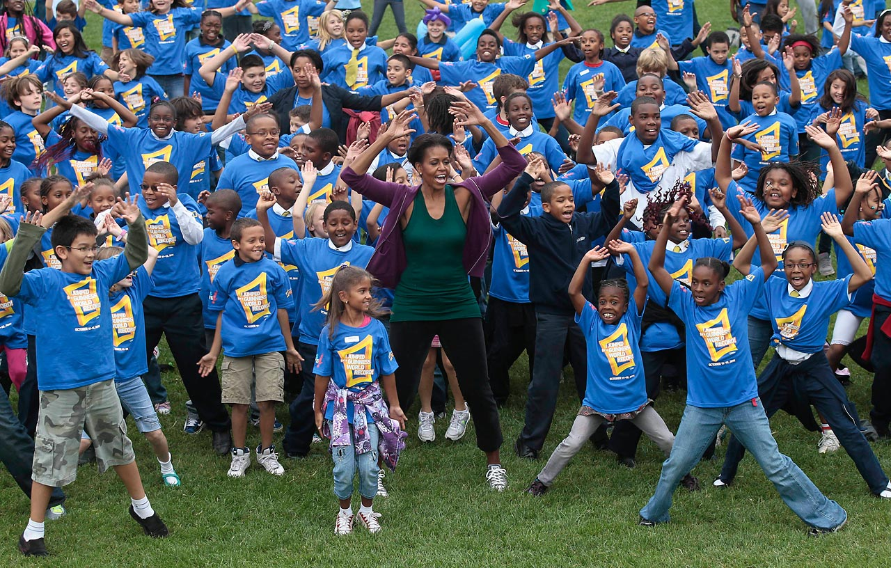 "First Lady Michelle Obama led more than 20,000 children worldwide in a jumping jacks exercise to promote her ""Let's Move"" campaign. On Oct. 12, at 3 p.m., Guinness confirmed that she had helped break the record for most people performing jumping jacks in a 24-hour period."