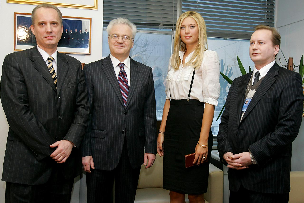 Maria is pictured with the United Nations Ambassadors at the U.N. in New York on Feb. 14, 2007. From left to right -- Belarus Ambassador Andrei Dapkiunas, Russian Ambassador Vitaly Churkin and Ukraine's Deputy Ambassador Viktor Kryzhanivskyi. Sharapova was introduced as Goodwill Ambassador to UNDP and the UNDP Chernobyl Projects, to which she pledged $100,000.