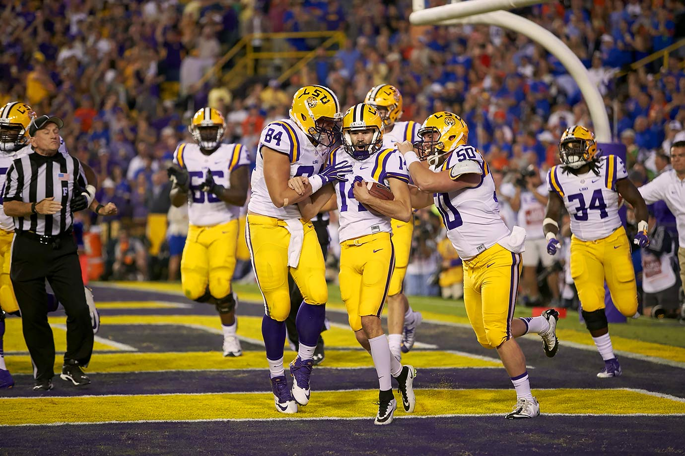 In one of the few offensive outbursts for either team (especially Florida) this season, LSU caught the Gators napping in vintage Les Miles fashion to break a 28–28 tie in the 4th quarter. Kicker Trent Domingue's 16-yard touchdown scamper on a fake field goal was the Tigers' only score of the second half.