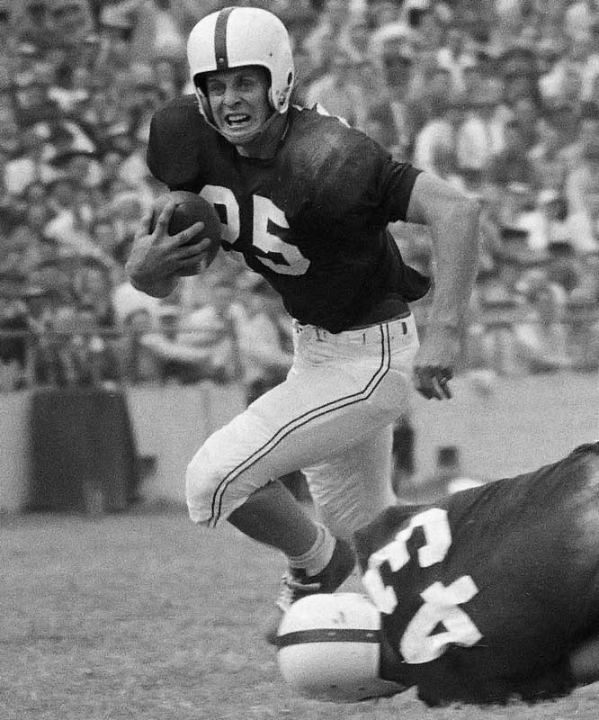 Though McDonald was slight of stature (5-foot-9 and 175 pounds), few played bigger him. He scored touchdowns in 20-of-21 games during his junior and senior seasons. In 1955, he became the first Sooner to score from scrimmage in every game. He had the most first-place votes for the Heisman in 1956 but lost the trophy to Notre Dame's Paul Hornung. — Runner-up: Raghib Ismail, HB, Notre Dame (1988-90)
