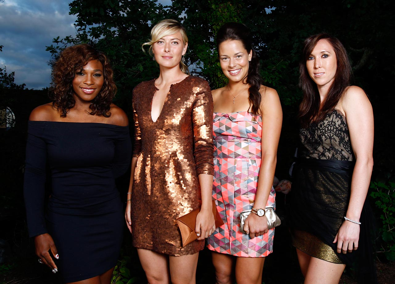 WTA tour players (left to right) Serena Williams, Maria Sharapova, Ana Ivanovic, Jelena Jankovic pose at the Sony Ericsson pre-Wimbledon party at the Kensington Roof Gardens.