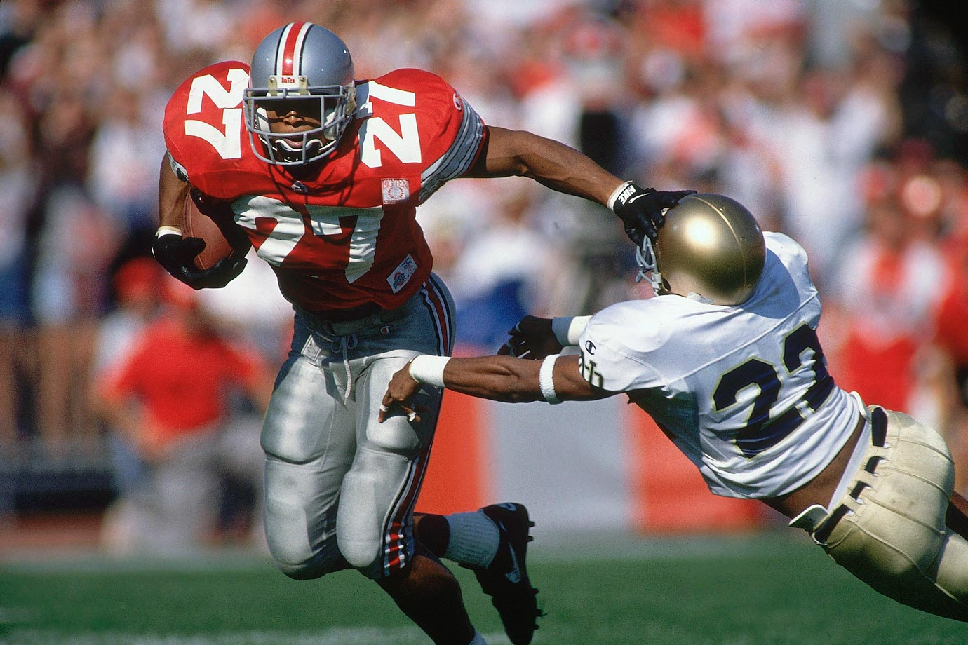 As a senior George rushed for a school-record 1,927 yards and 24 touchdowns, including 314 yards and three touchdowns against Illinois. He won the Heisman Trophy and Maxwell Award in 1995. — Runner-up: Joe Belino, HB, Navy (1958-60)