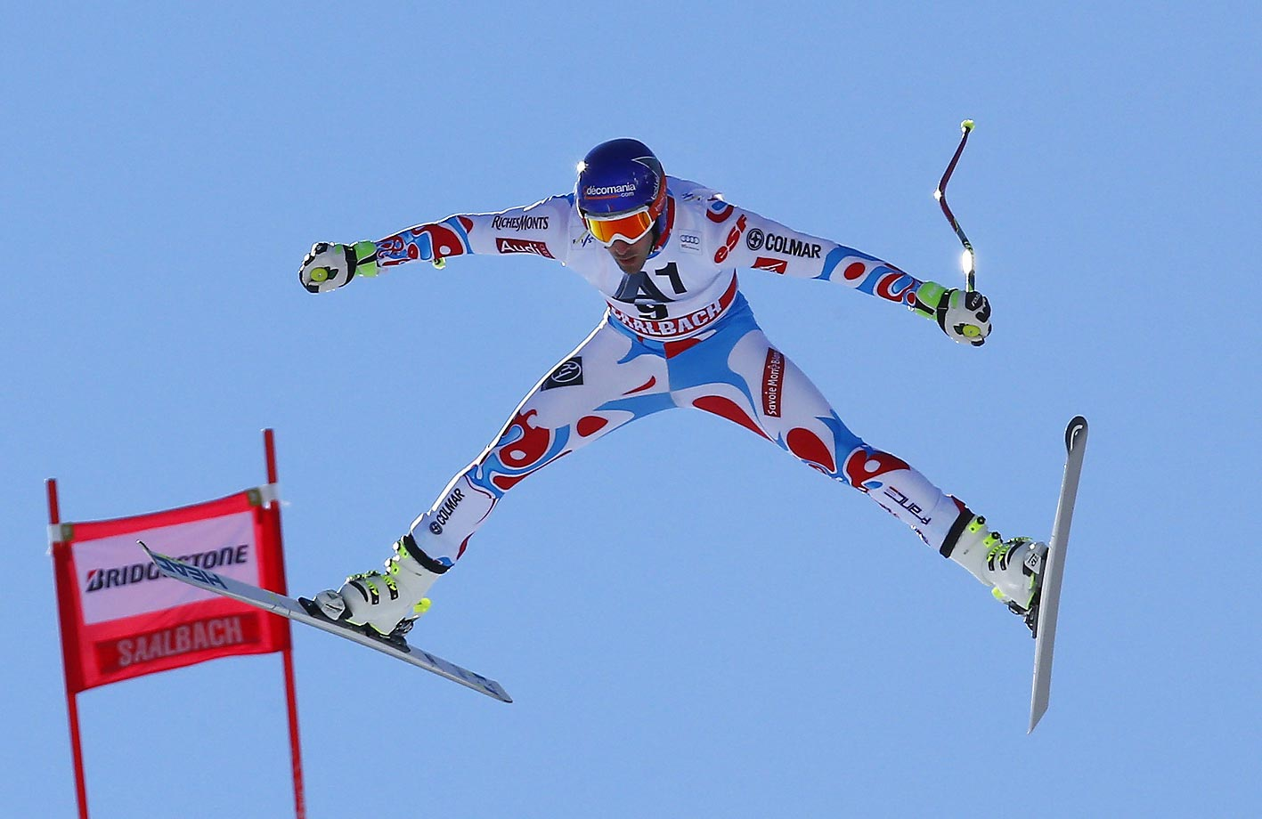 Adrien Theaux of France is airborne during his downhill training in Saalbach Hinterglemm, Austria.