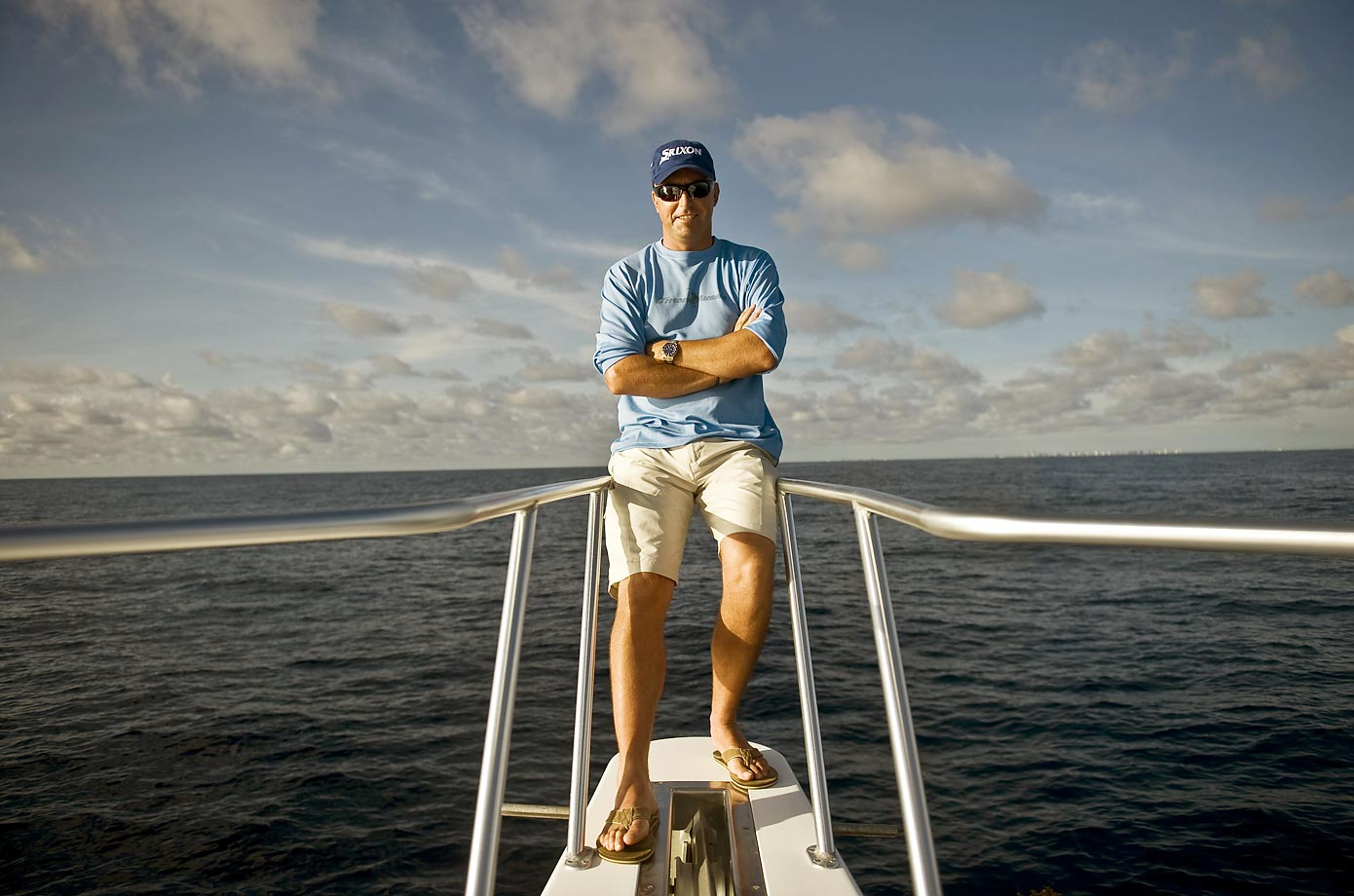 Professional golfer Robert Allenby on his fishing boat in 2008.
