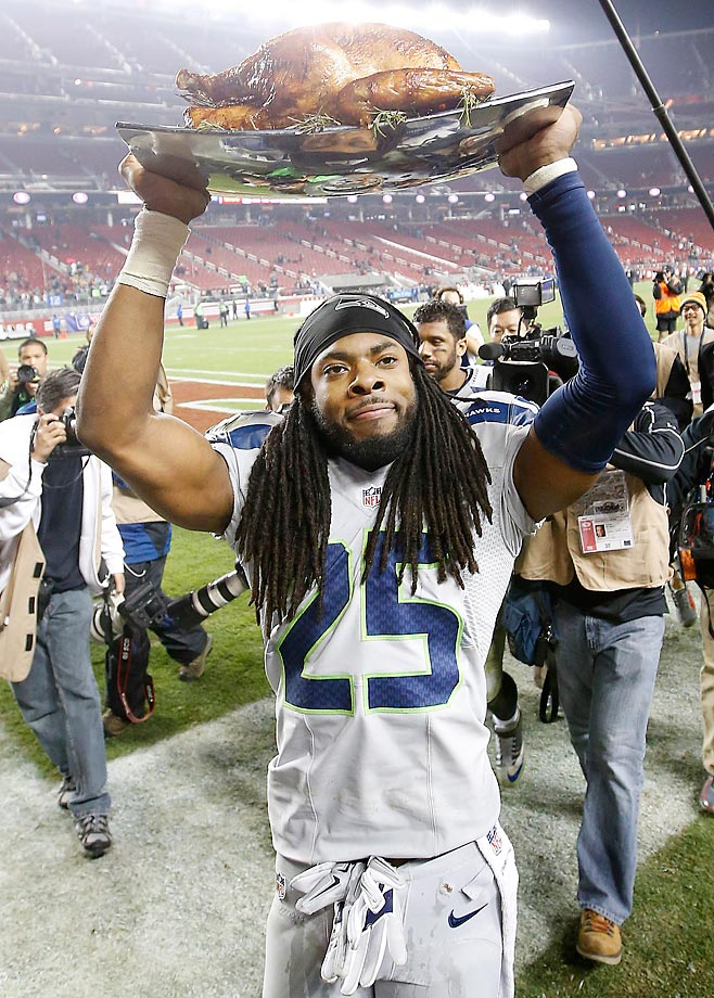 Richard Sherman celebrates the Seahawks 19-3 win over the 49ers on turkey day.