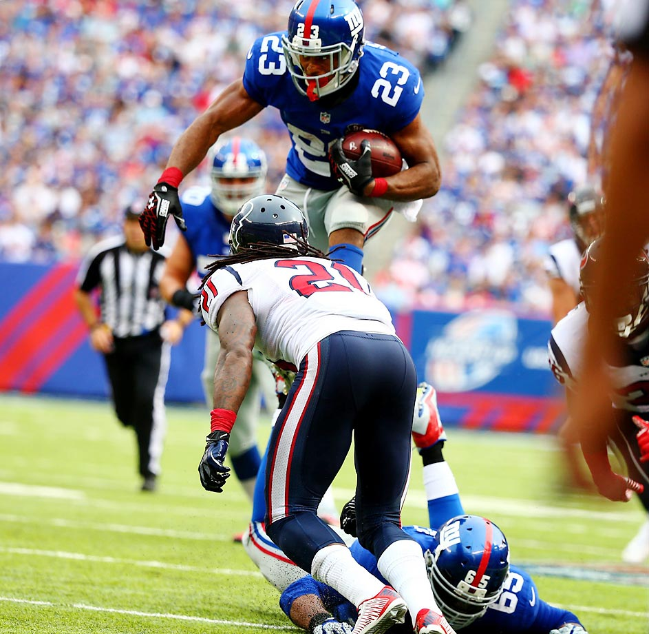 The Giants' Rashad Jennings rushed for a career-high 176 yards in the win over the Texans.