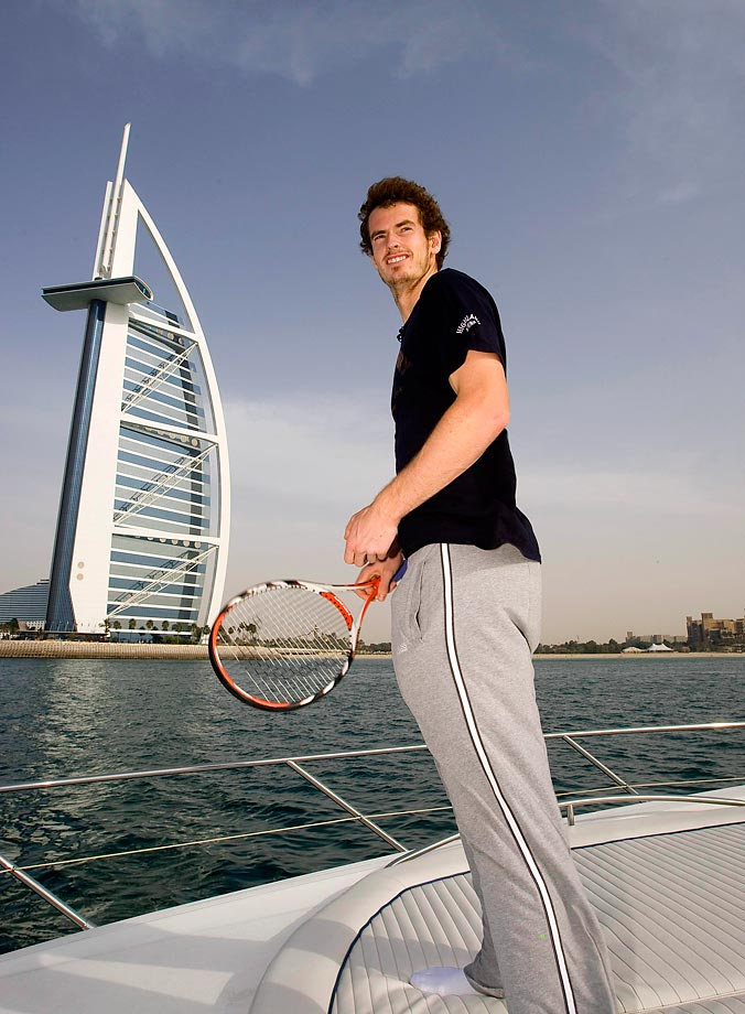 The British tennis star took a ride in front of the Burj Al Arab Hotel during the Emirates Dubai ATP Tennis Championship in 2009.