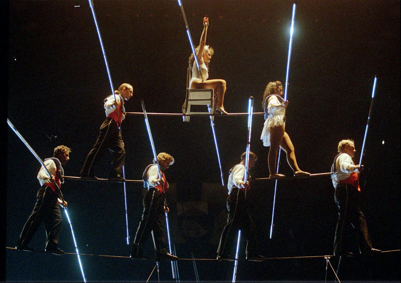 The Flying Wallendas of Sarasota, Fla., perform their seven-person Grand Pyramid at the Michigan State Fairgrounds in Detroit. Bottom row from left: Tino Wallenda, 47, Sacha Paulata, 48, Nikolas Wallenda, 19 and Terry Troffer, 43. Second row from left, Tony Hernandez, 22, and Alida Wallenda, 23. Top is Delilah Wallenda, 45.