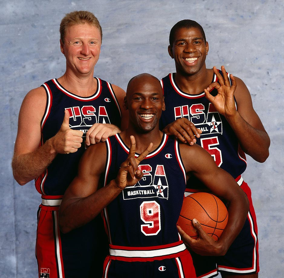They may have been part of the greatest basketball team ever assembled, but Dream Team members Larry Bird, Michael Jordan, and Magic Johnson can't keep their signals straight during a shoot with legendary photographer Neil Leifer.