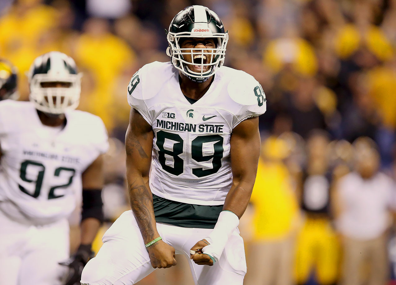 "Continue to believe Calhoun belongs in Round 1, even though his size (6'5"", 250) runs him a little light for a traditional 4–3 NFL end. Calhoun finished his final Michigan State season with 10.5 sacks, a career high. The Spartans rarely took him off the field, which is a testament to his skill set."