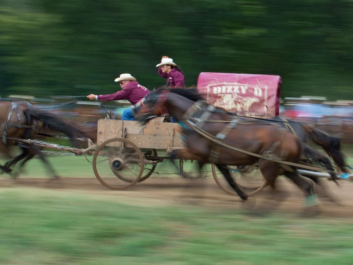 "Team ""Dizzy-D"" speeds up before the first turn in the Classic Wagon Division."