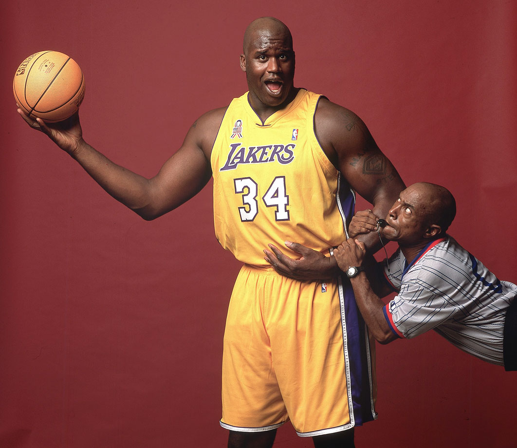 Prime Shaq has a case as the most singularly dominant individual player ever, with his blend of power and quickness, soft touch and ability to impose his will on the court. Four titles, three Finals MVPs and 15 All-Star appearances help Shaq's résumé edge out the competition in one of the more difficult jersey number debates. — Runners-up: Hakeem Olajuwon, Charles Barkley, Ray Allen