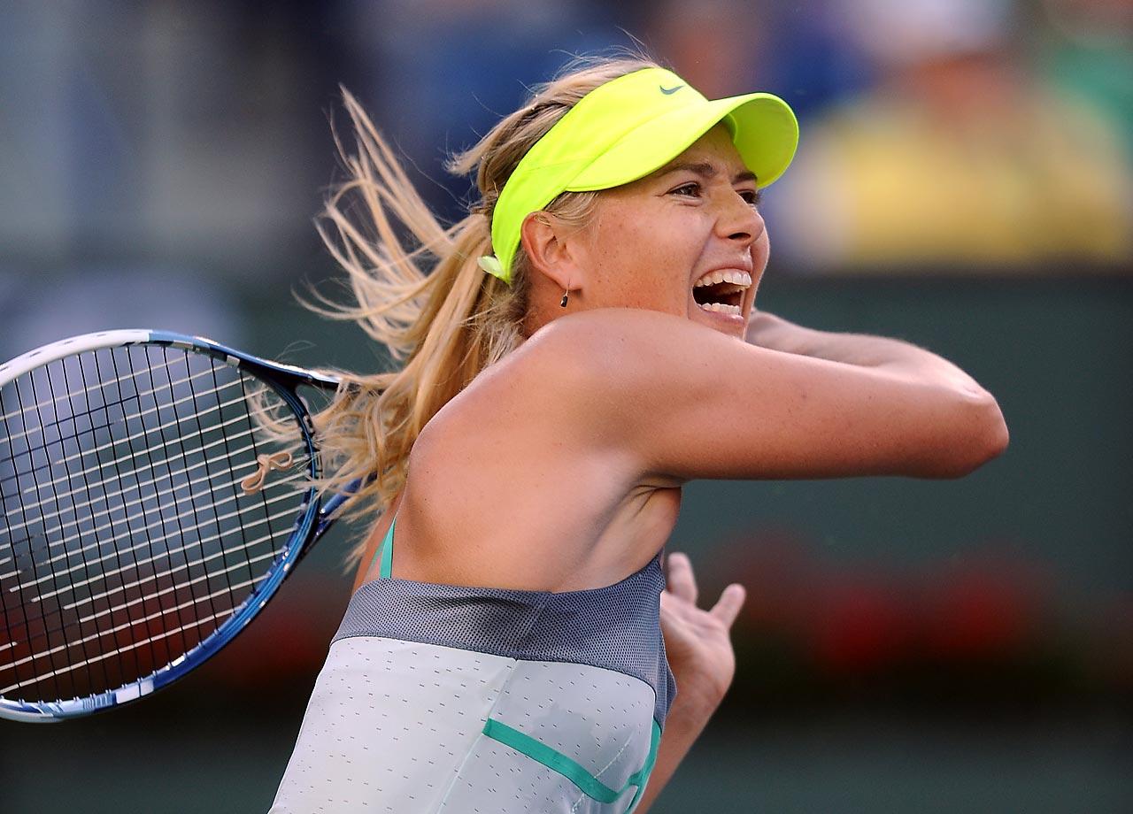 Sharapova during her 7-5, 6-3 defeat of Carla Suarez Navarro during the BNP Paribas Open.