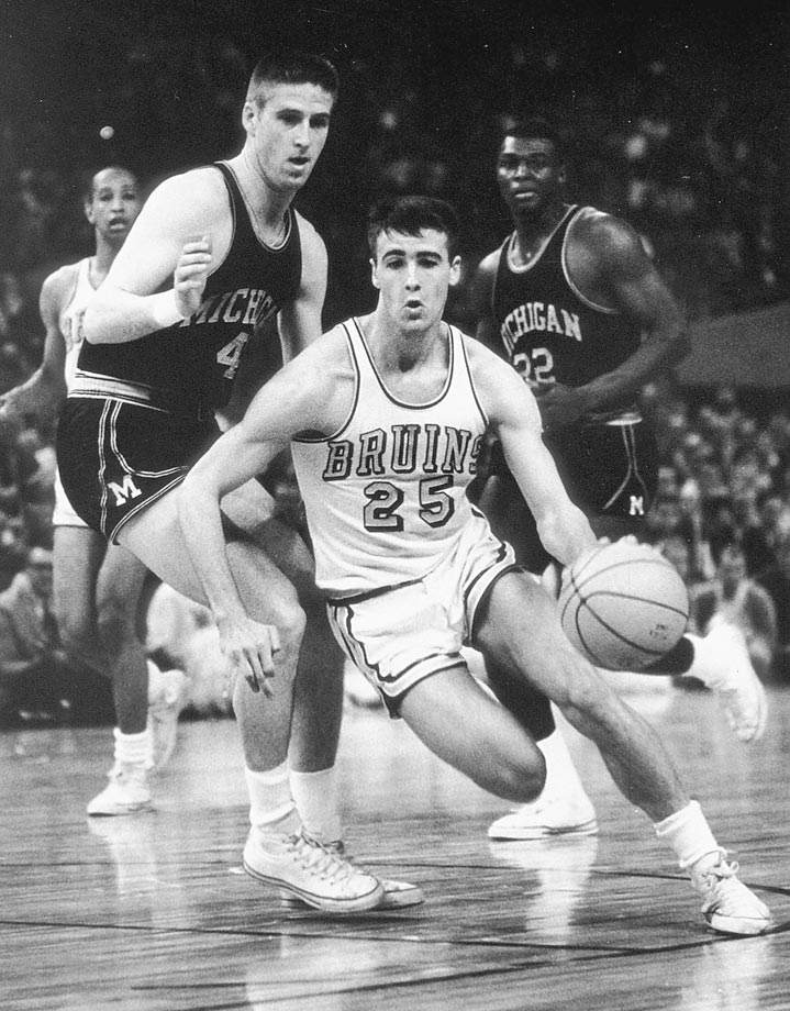 UCLA guard Gail Goodrich drives against Michigan during the Final Four held in Portland. UCLA won 91-80 to take the title.