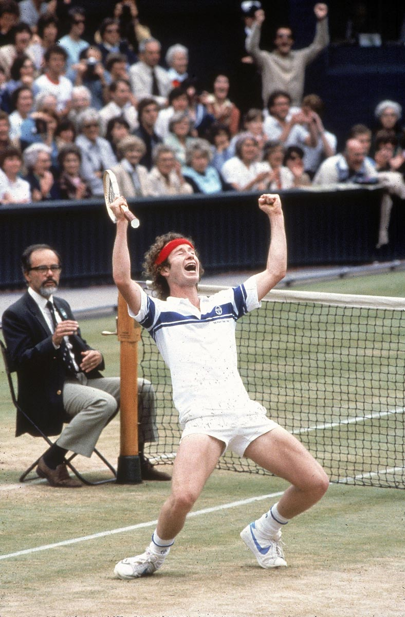 Wimbledon, July 4, 1981 | The always emotional John McEnroe reacts after beating rival Bjorn Borg for the Wimbledon title. He would win the tournament again in 1983 and 1984.