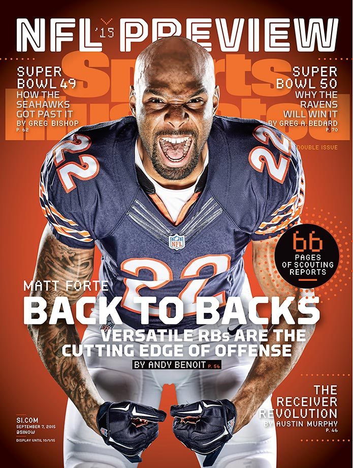 September 7, 2015 | Chicago Bears running back Matt Forte headlines a list of five players featured on regional covers of the NFL Preview issue.