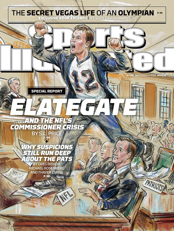 September 14, 2015 | The New England Patriots appear on this week's cover of Sports Illustrated, with S.L.  Price analyzing the Deflategate court ruling and three investigative reports writing about other teams' distrust of the Patriots.