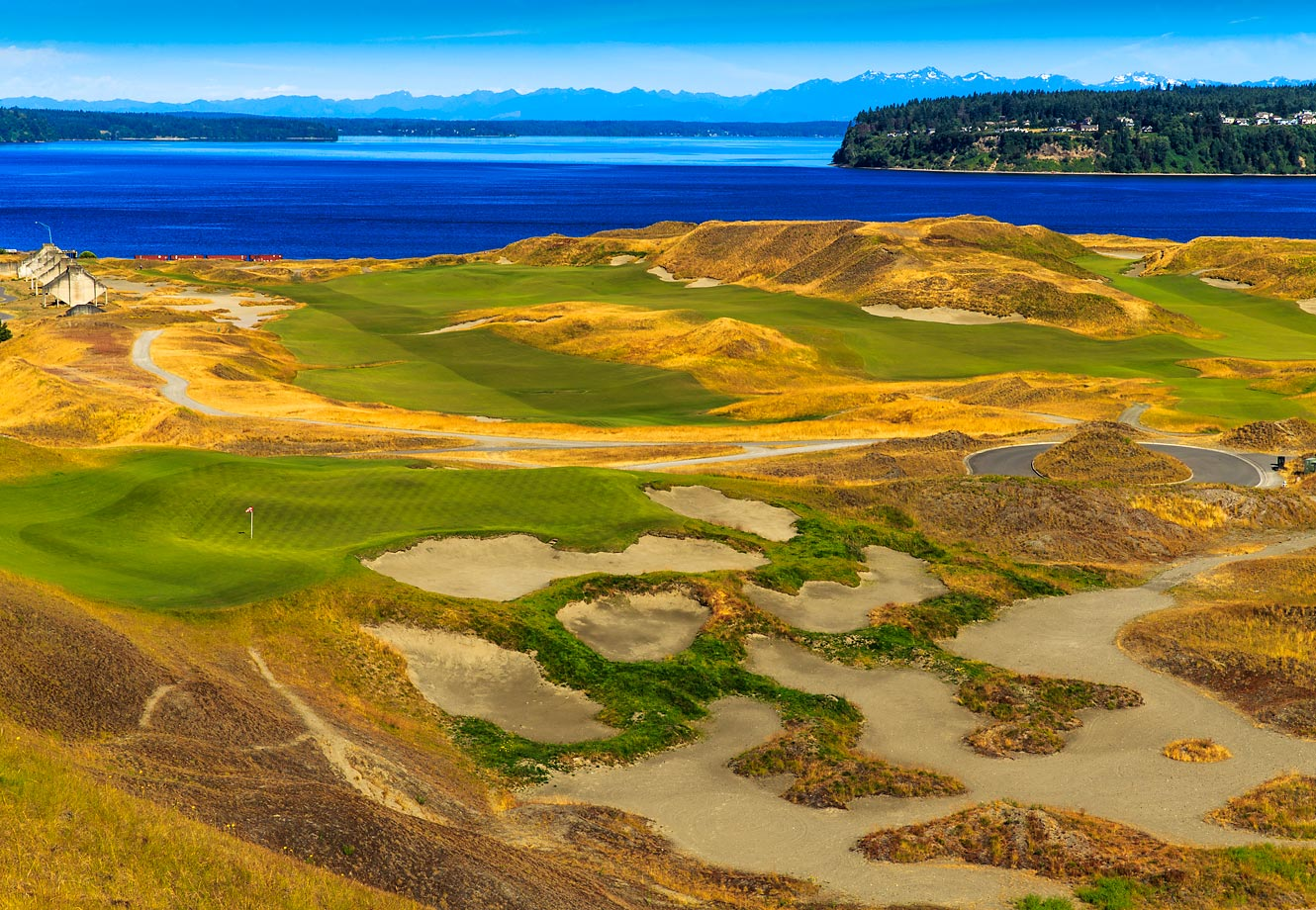 The par-3 ninth hole at Chambers Bay, known as 'Olympus', features two different tees, one of which will sit about 100 feet above the green and will necessitate the most severe downhill shot of any in U.S. Open history.