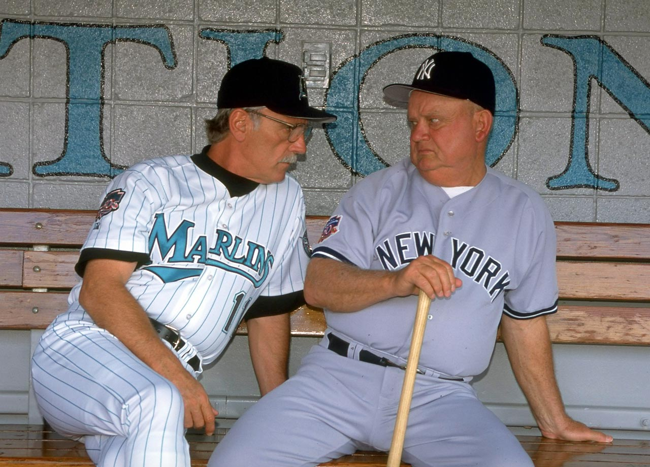 Marlins manager Jim Leyland looks lovingly into the eyes of Yankees bench coach Don Zimmer. Unfortunately for Leyland, Zim appears terrified by the whole encounter.