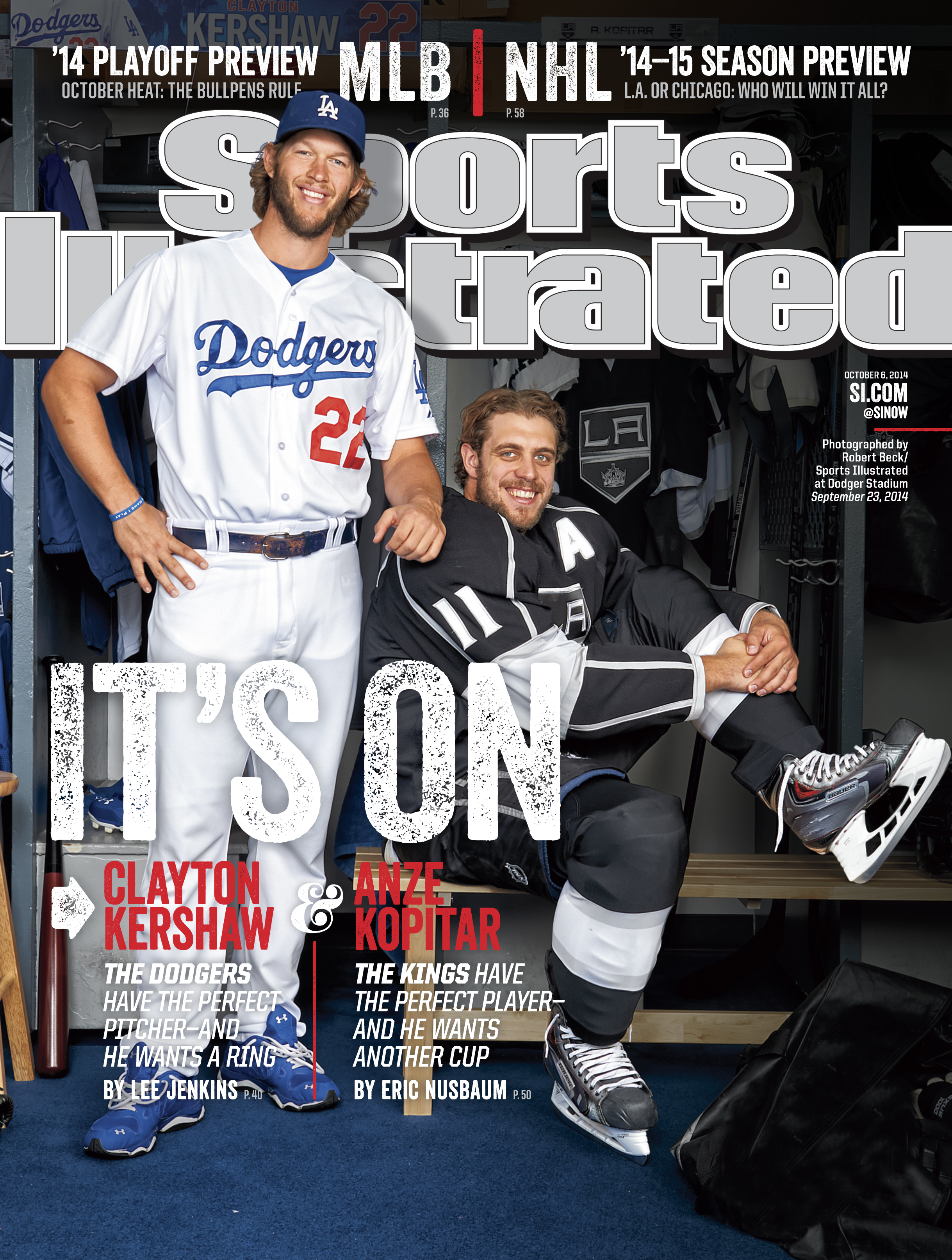 October 6, 2014 | Although Los Angeles has no NFL team, Dodgers ace Clayton Kershaw and Kings forward Anze Kopitar are making sure that fans in the area don't miss America's most popular sport.