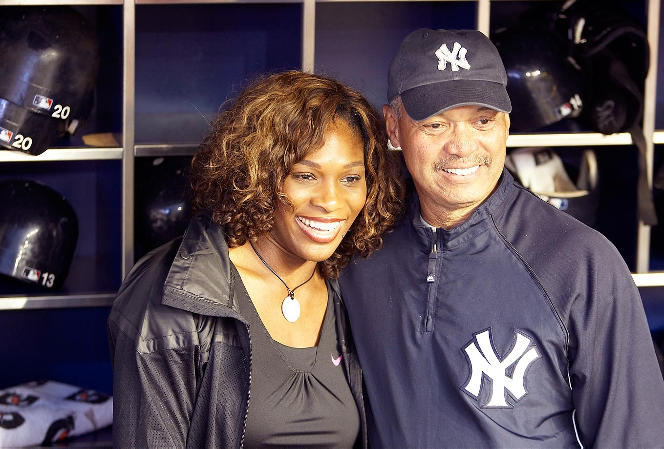 Serena is seen here enjoying a White Sox-Yankees game with former Bronx bomber Reggie Jackson.