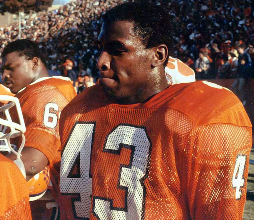 Kinard had 17 interceptions, 30 pass deflections, and 292 tackles during his college career. He led his team in tackles and was a consensus All-America in 1981 as Clemson won the national championship. Sports Illustrated picked him on its all-century team. — Runner-up: Bob Crable, LB, Notre Dame (1979-81)