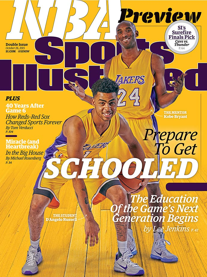 October 26, 2015 | Four NBA teams are featured on the cover of this week's NBA Preview issue of Sports Illustrated, which takes a look at how each team's superstars will act as mentors to their next wave of stars, including Kobe Bryant and D'Angelo Russell (pictured at right).