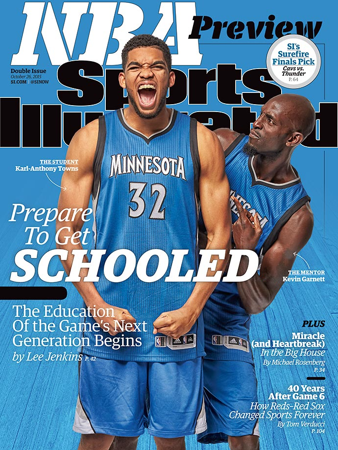 October 26, 2015 | Four NBA teams are featured on the cover of this week's NBA Preview issue of Sports Illustrated, which takes a look at how each team's superstars will act as mentors to their next wave of stars, including Minnesota's Karl-Anthony Towns and Kevin Garnett (pictured at right).
