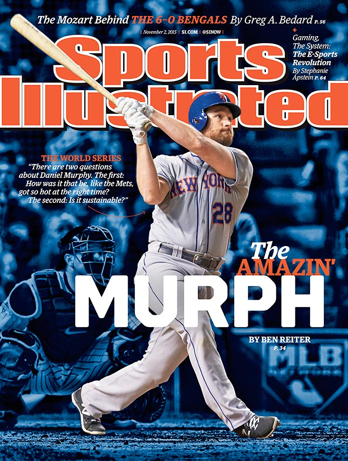 November 2, 2015 | New York Mets second baseman Daniel Murphy, the NLCS MVP who helped his team reach the World Series, is on this week's cover of Sports Illustrated. Murphy hit an astronomical .421 with a 1.026 slugging percentage in the first two rounds of the playoffs, thanks to his seven home runs, six of which he hit in consecutive games.