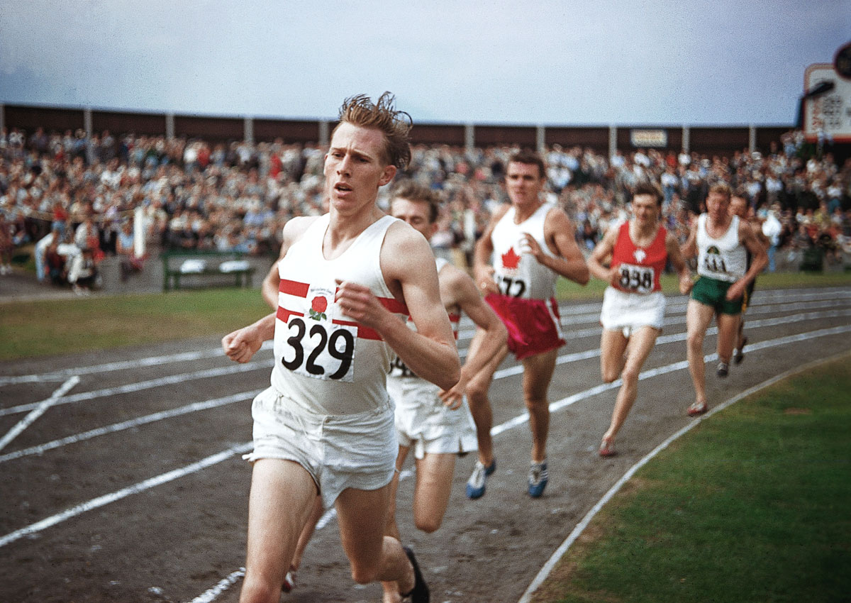 "British Empire and Commonwealth Games, Aug. 7, 1954 | Roger Bannister, the first man to break four minutes in the mile, races the ""Miracle Mile"" against John Landy, who was at the time the only other person to have broken four. Bannister won the duel and later took the first ever Sports Illustrated ""Sportsman of the Year"" honors."