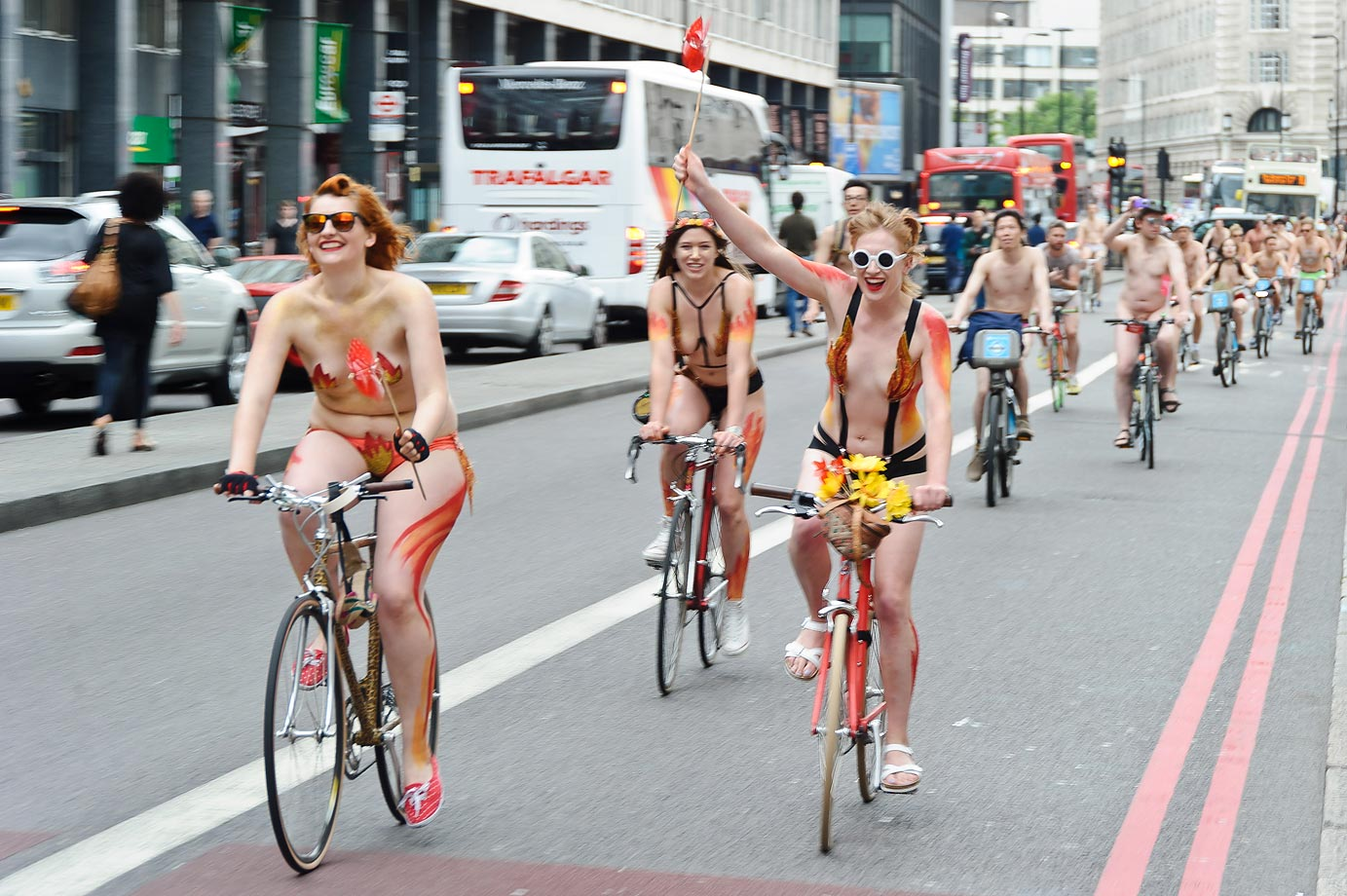 The annual London World Naked Bike Ride event in London is an au natural for some folks.
