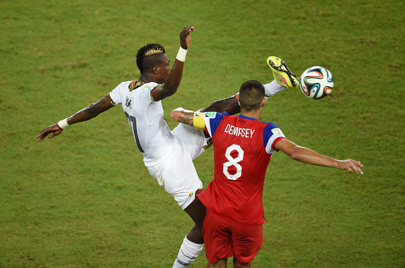 In the first half against Ghana, Clint Dempsey suffered a broken nose after being kicked in the face by the high leg of defender John Boye.