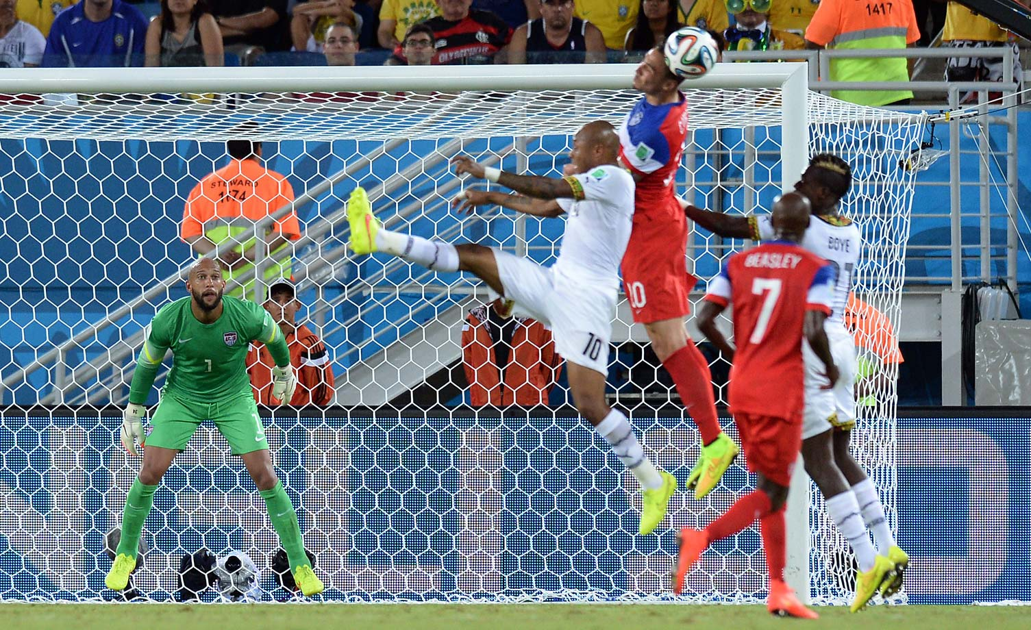 U.S. goalkeeper Tim Howard eyes the ball during the match against Ghana.