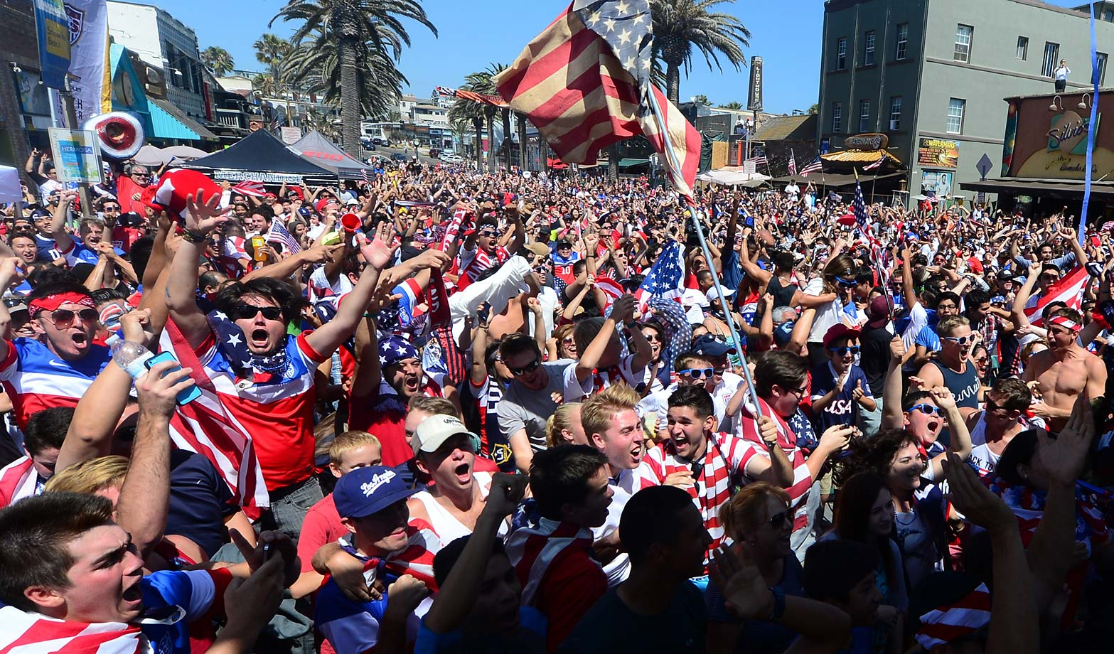 U.S. fans across the globe were overjoyed with the victory, including those in Hermosa Beach, Calif.