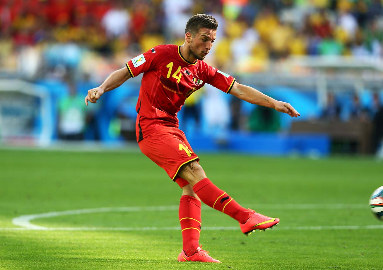 Dries Mertens of Belgium scores the winning goal of the Group H match between Belgium and Algeria putting Belgium ahead 2-1.
