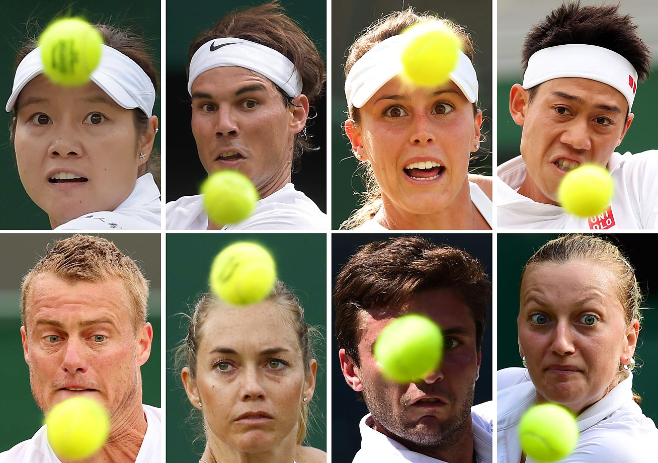 All eyes were on Wimbledon where (left to right on top) Li Na, Rafael Nadal, Michelle Larcher De Brito, Kei Nishikori and (left to right on bottom) Lleyton Hewitt, Klara Koukalova, Gilles Simon and Petra Kvitova served up memories at The All England Tennis Club in southwest London.