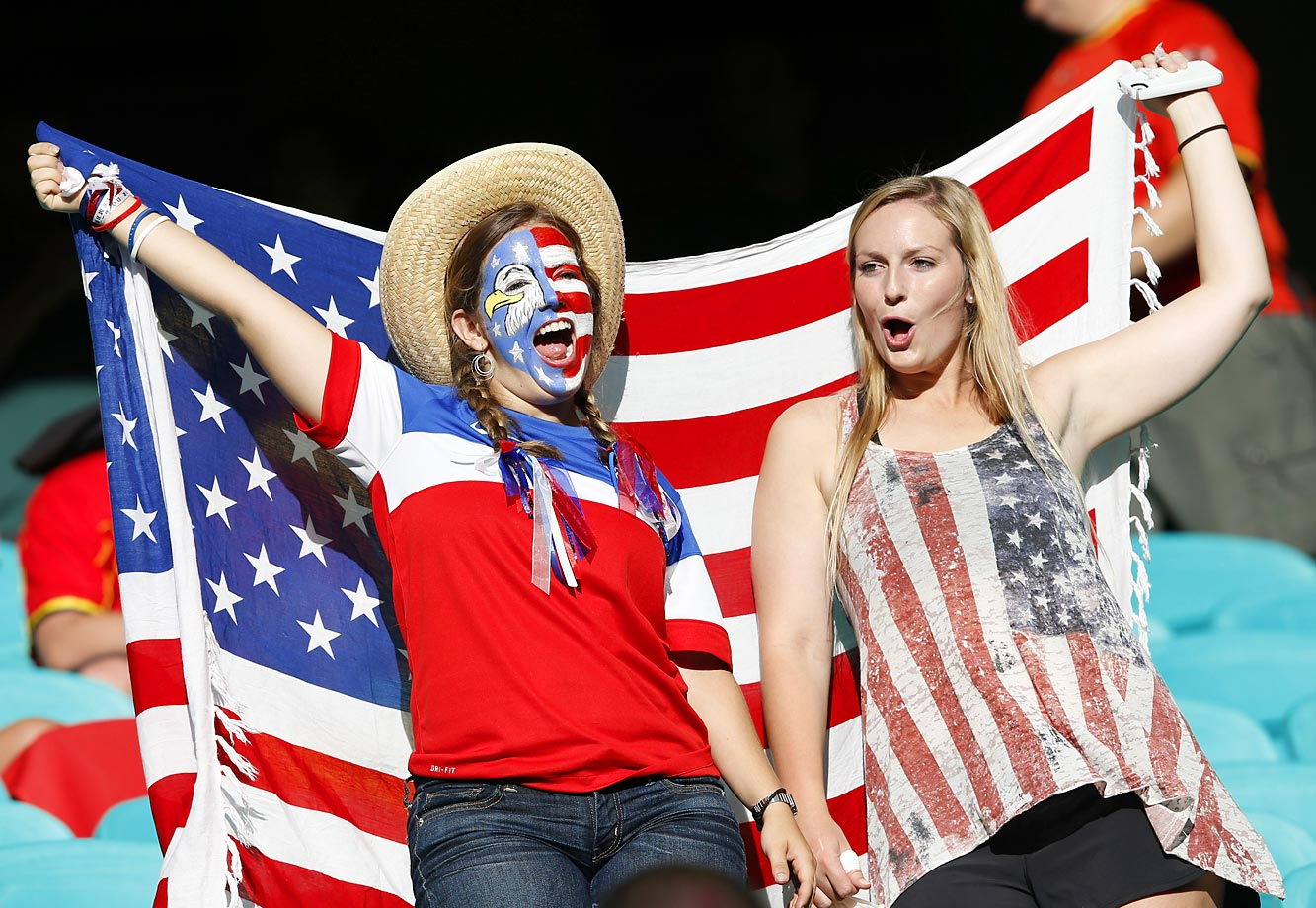 U.S. fans cheer during the game.