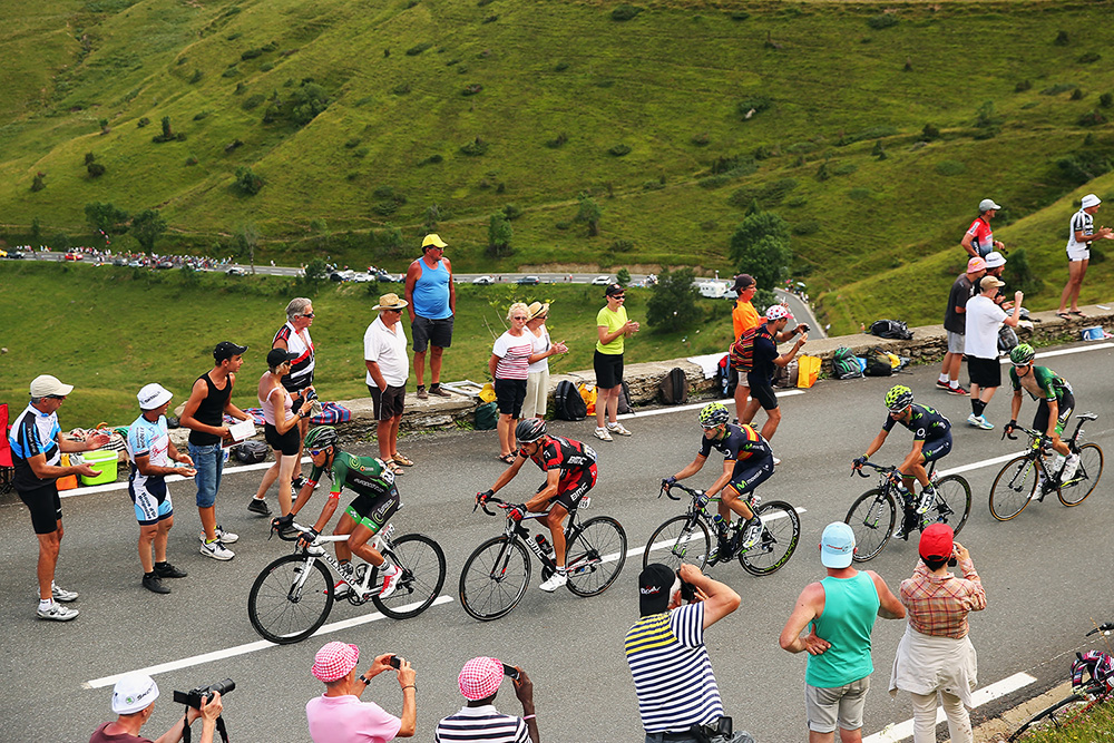 The chasing group in action during the seventeenth stage of the 2014 Tour de France.