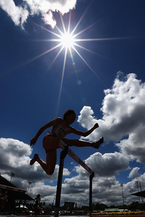 At Day 3 of the IAAF World Junior Championships in Eugene, Oregon, Akiko Ito of Japan competes in the women's 400m hurdle heats.