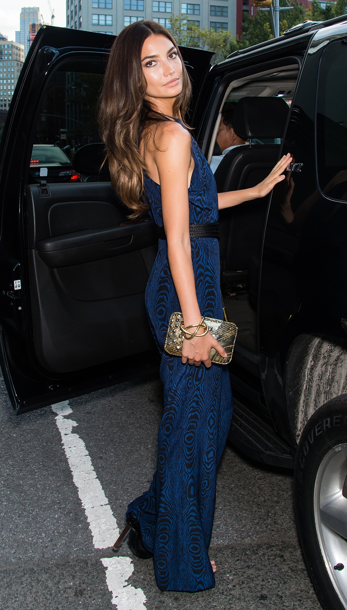 Lily Aldridge outside Diane von Furstenberg