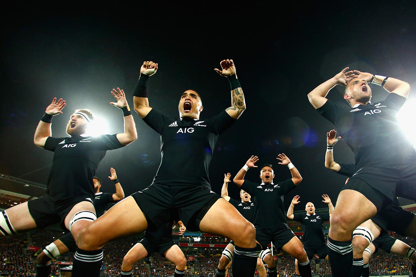 Kieran Read, Aaron Smith and Aaron Cruden of the All Blacks perform the haka.