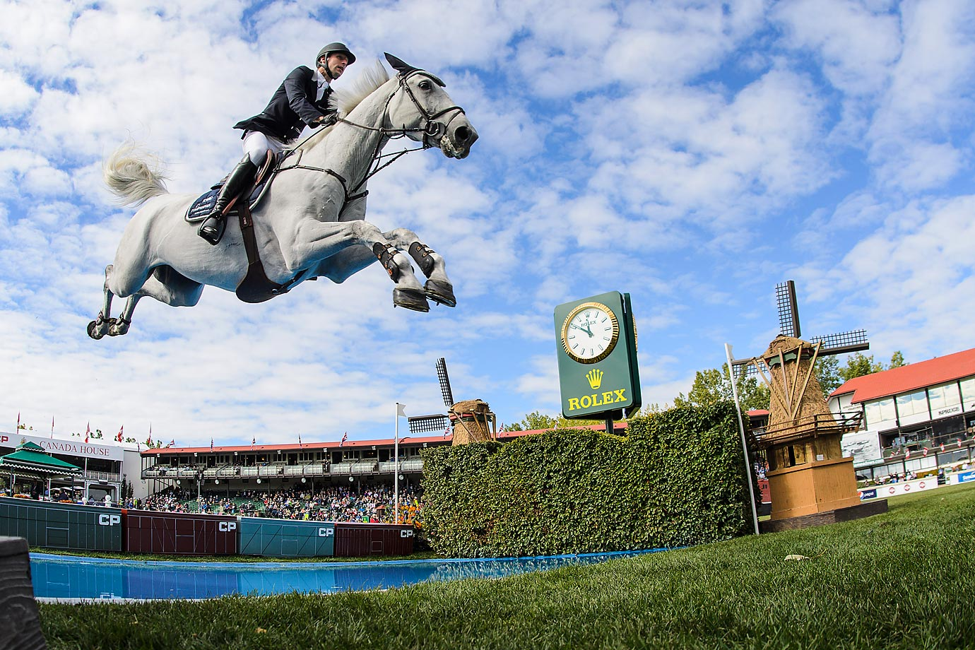 Pieter Devos of Belgium riding Dylano at the Masters tournament at Spruce Meadows in Calgary.