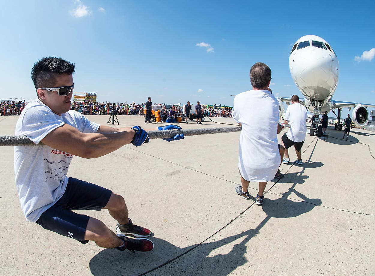 The Dulles Day Plane pull at Dulles airport in Virginia.  The event is a fundraiser for Special Olympics Virginia.